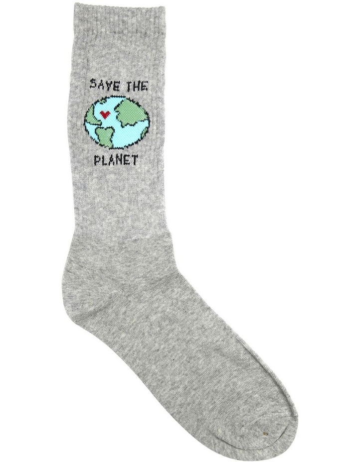 Save The Planet Rib Sports Crew Sock image 1