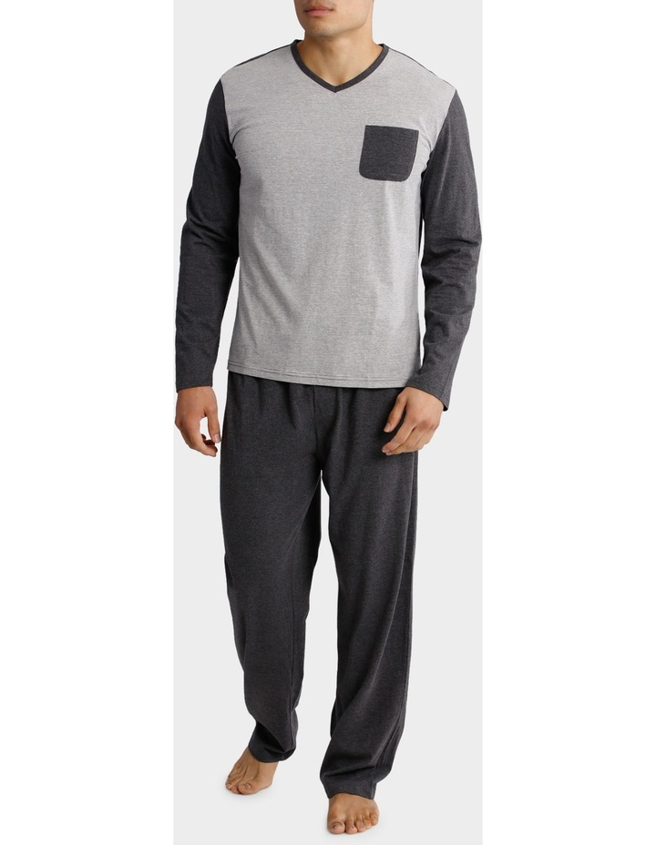 Long Sleeve V Neck Tee and Knit Pant PJ Set - Feather Stripe image 1