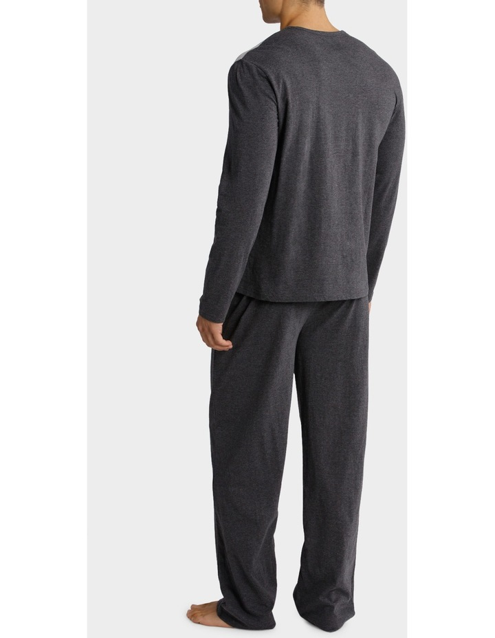Long Sleeve V Neck Tee and Knit Pant PJ Set - Feather Stripe image 2