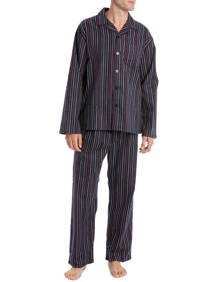 Essentials Long Sleeve Flanelette PJ Set - Stitch Stripe image 1