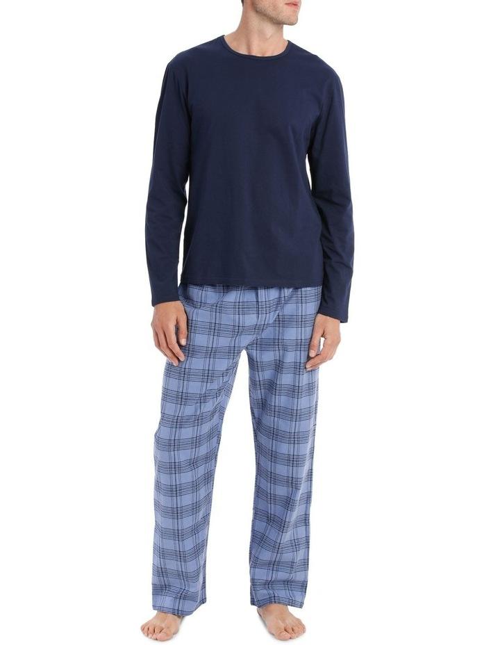 Essentials Long Sleeve Tee & Flanelette Pant PJ Set - 2 Tone Check image 1