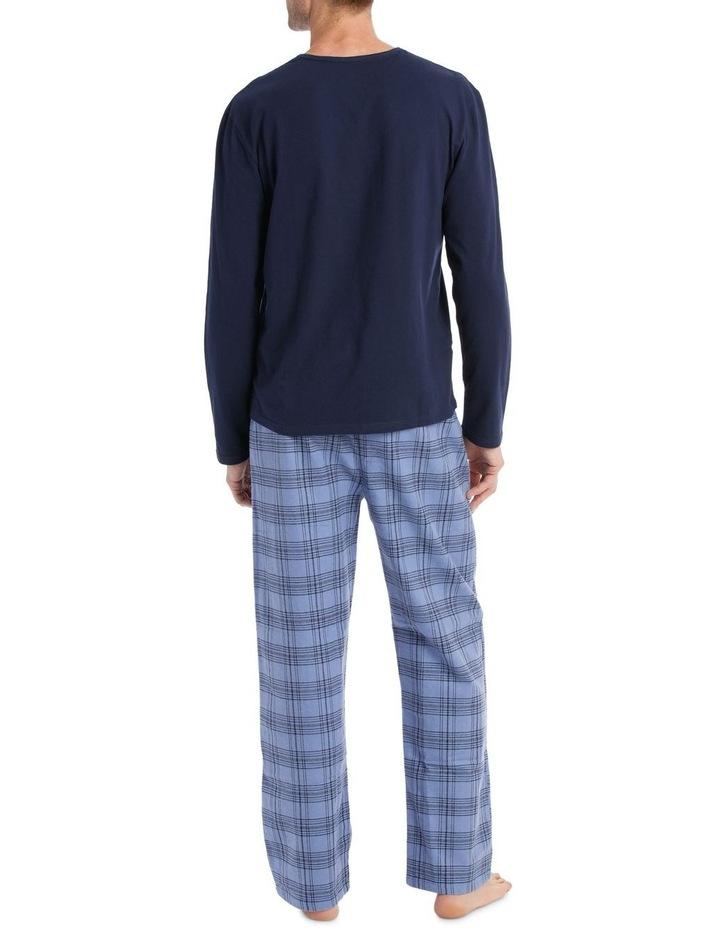 Essentials Long Sleeve Tee & Flanelette Pant PJ Set - 2 Tone Check image 2