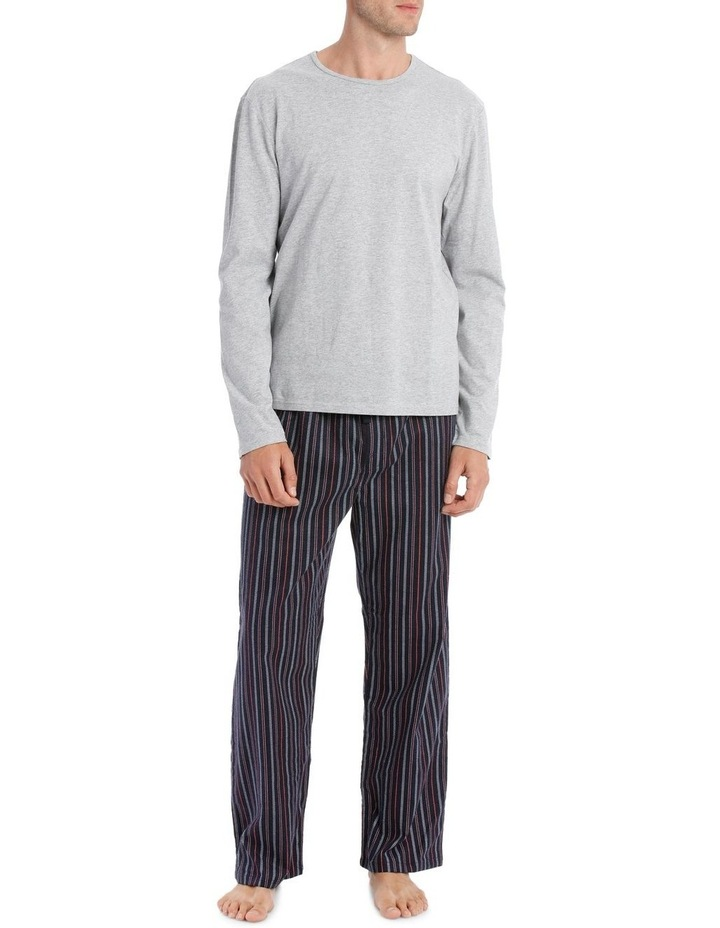 Essentials Long Sleeve Tee & Flanelette Pant PJ Set - Stitch Stripe image 1