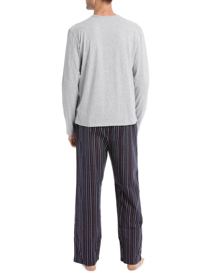 Essentials Long Sleeve Tee & Flanelette Pant PJ Set - Stitch Stripe image 2