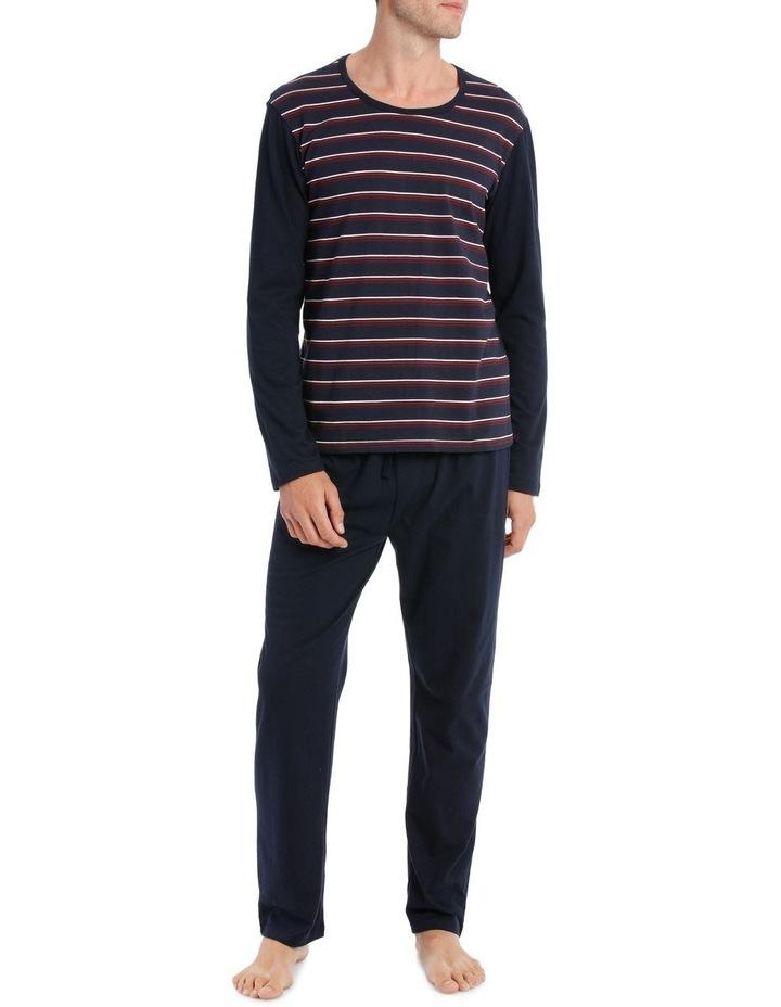 Essentials Long Sleeve Stripe Knit PJ set - Berry Stripe image 1