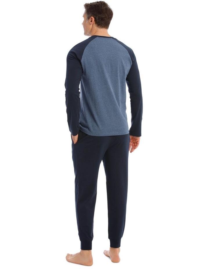 Essentials Long Sleeve Blue T-Shirt & Knit Jogger Pyjamas image 2
