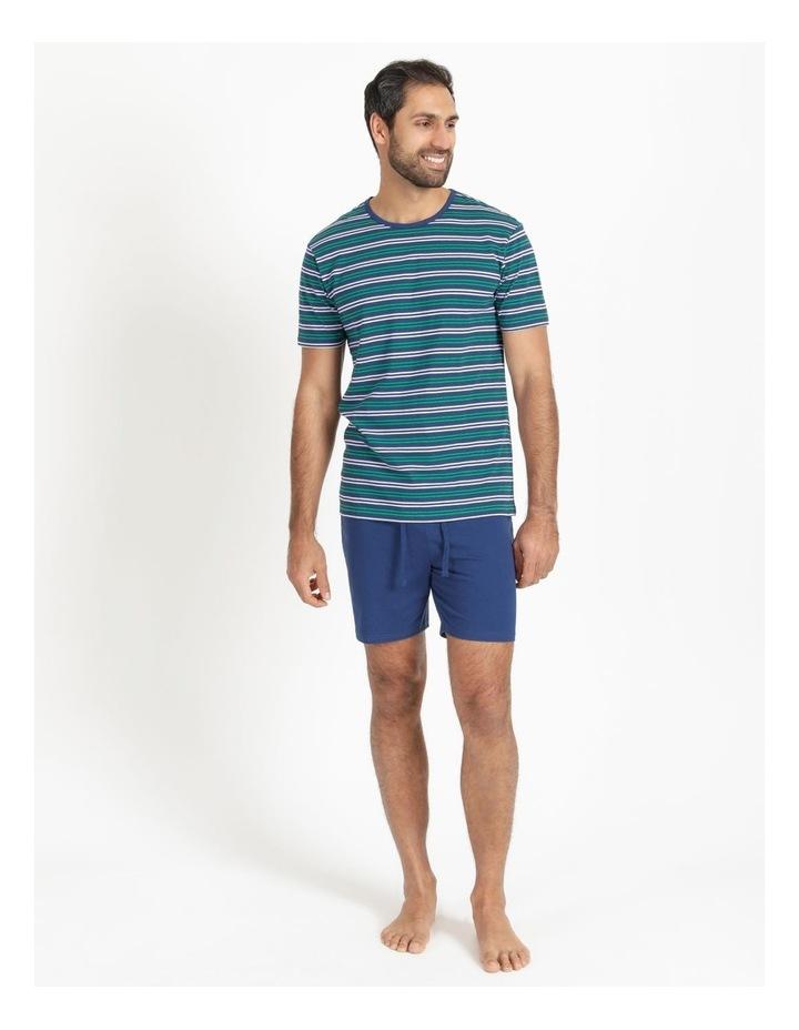 Essentials Short Sleeve Knit Lounge Pj Set  Navy Stripes image 2