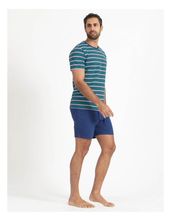 Essentials Short Sleeve Knit Lounge Pj Set  Navy Stripes image 4