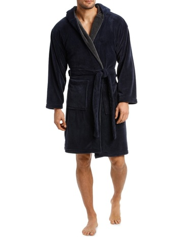 BlaqHooded Contrast lined Coral Fleece Robe. Blaq Hooded Contrast lined  Coral Fleece Robe 6a093d55c