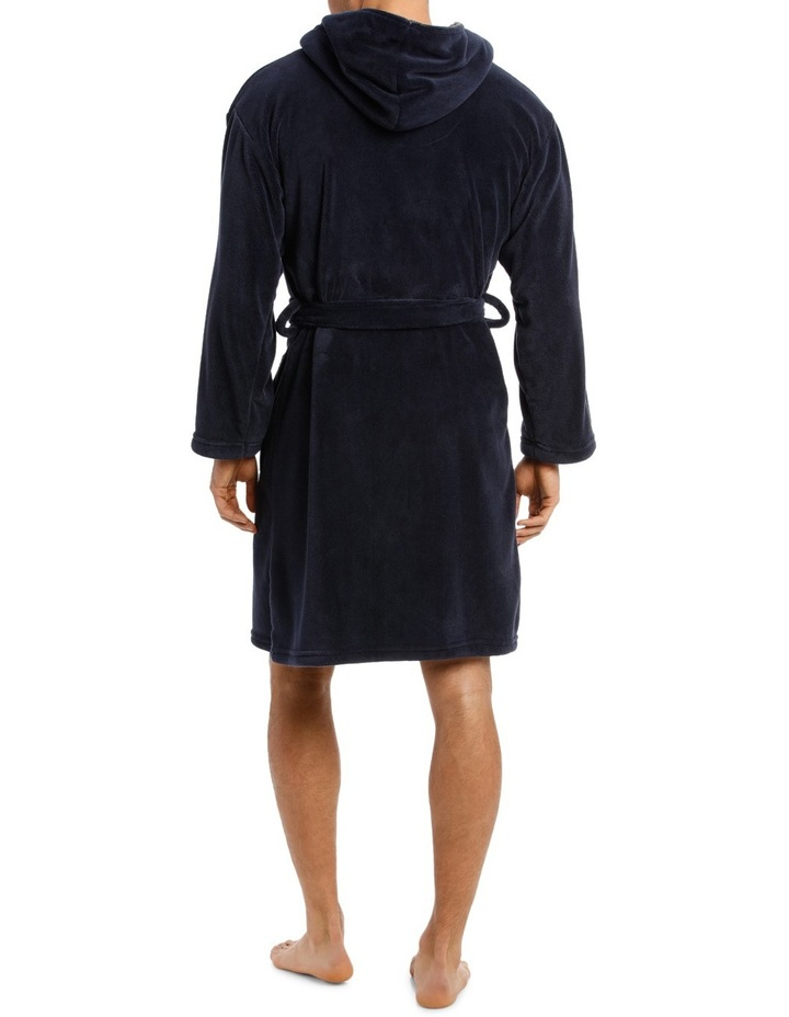 Hooded Contrast lined Coral Fleece Robe image 2