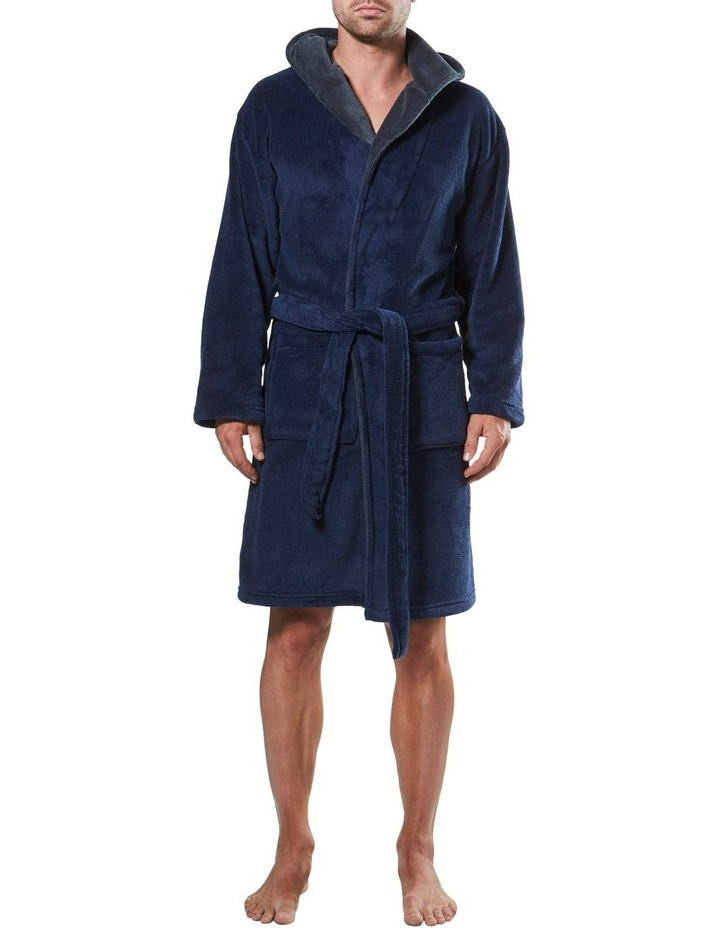 Hooded Contrast Lined Coral Fleece Robe image 1