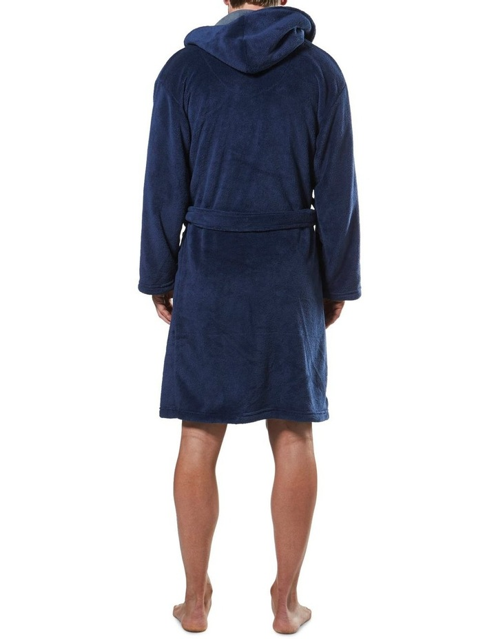 Hooded Contrast Lined Coral Fleece Robe image 3