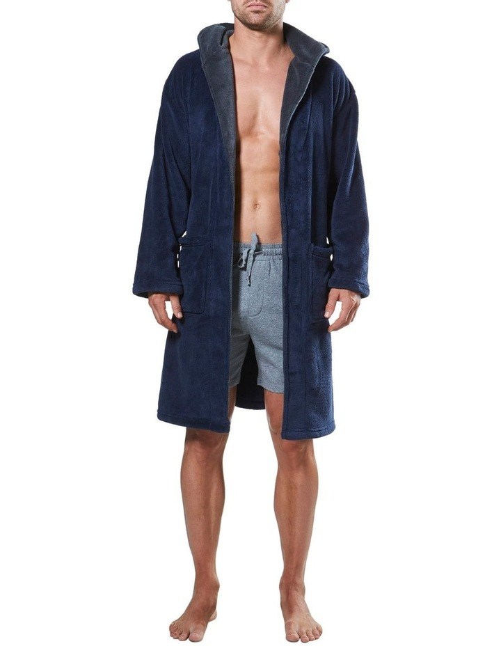 Hooded Contrast Lined Coral Fleece Robe image 4