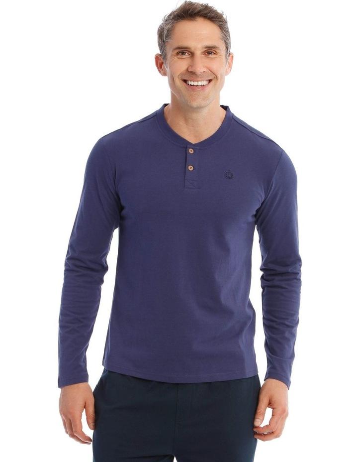 Premium Henley Long-Sleeve Sleep T-Shirt in Navy image 1