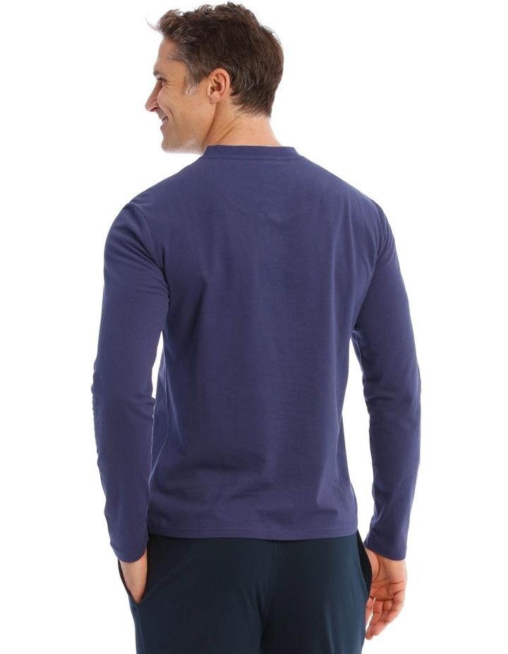Premium Henley Long-Sleeve Sleep T-Shirt in Navy image 2