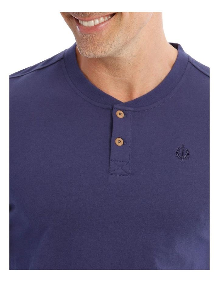 Premium Henley Long-Sleeve Sleep T-Shirt in Navy image 3