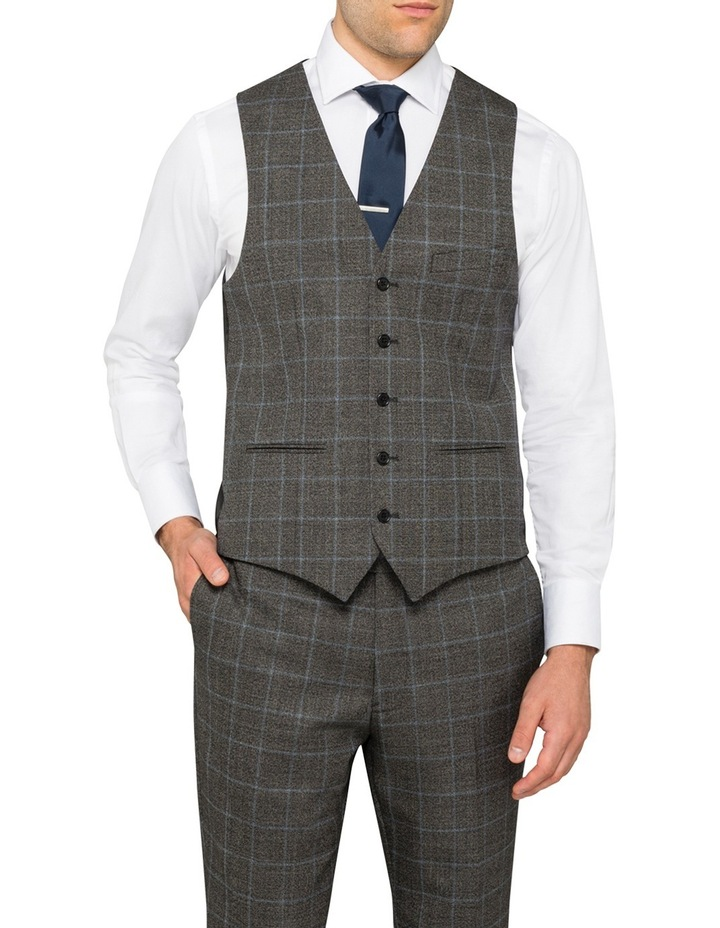 Charcoal With Blue Check Suit Vest CVXM005Z_CBLK image 1