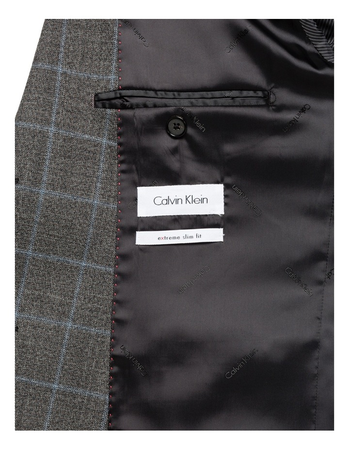 Charcoal With Blue Check Suit Vest CVXM005Z_CBLK image 3
