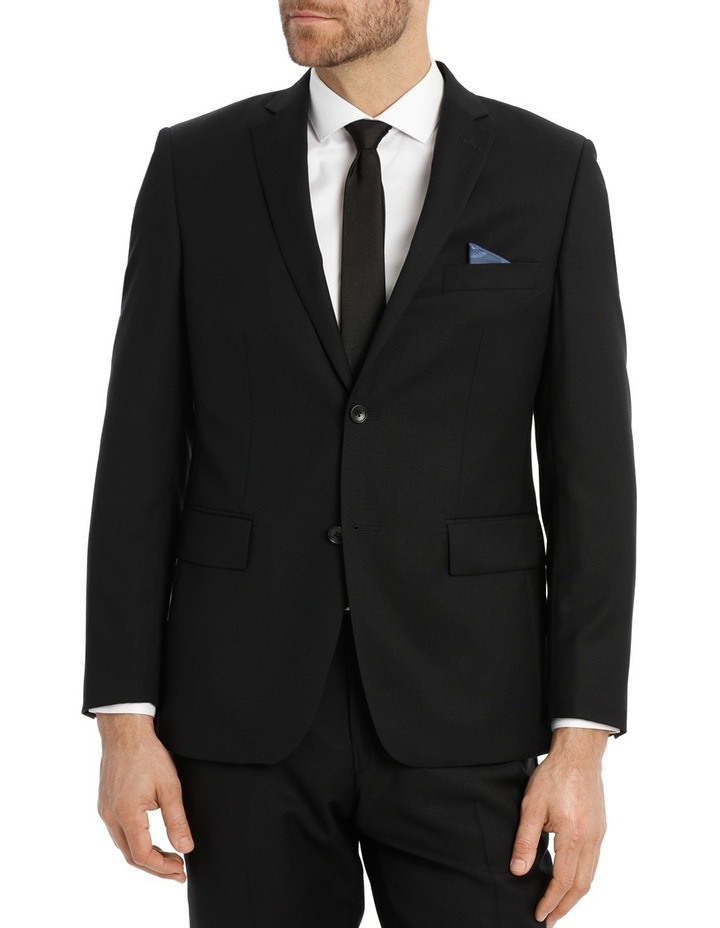 Black Textured Suit Jacket image 1