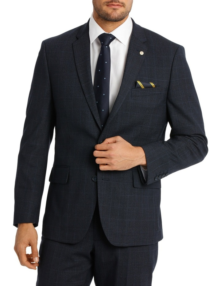 Navy Window Pane Suit Jacket image 1