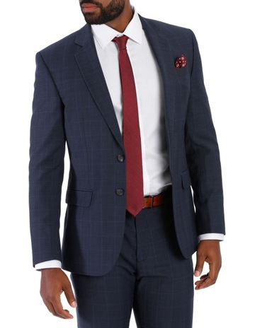 4466859e32 Jeff Banks Check Suit Jacket Navy