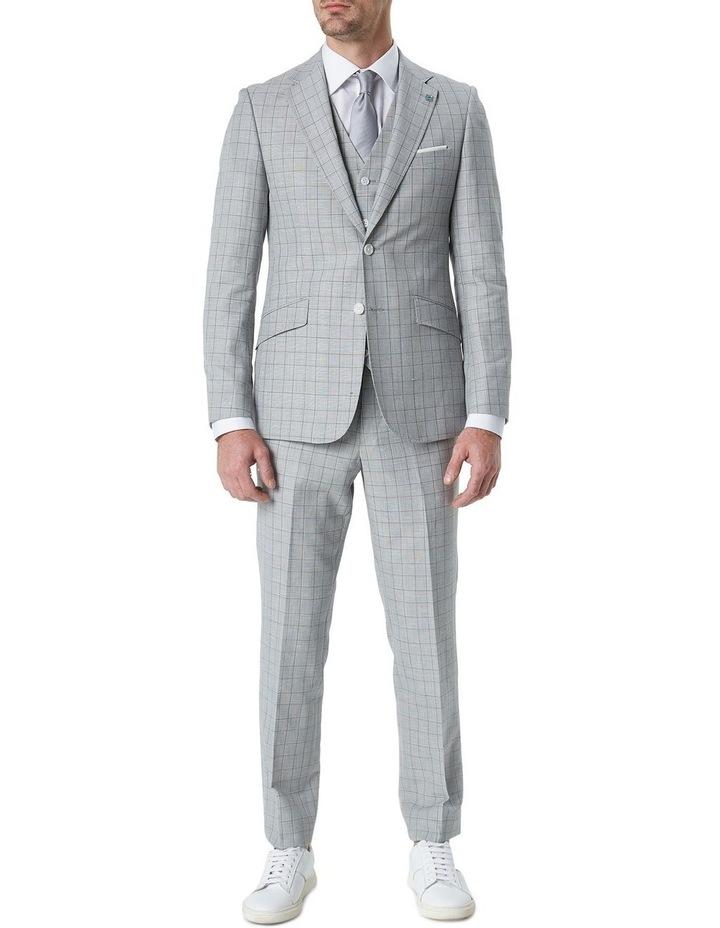 Hearts Light Grey Wool Linen Check Suit Vest image 3
