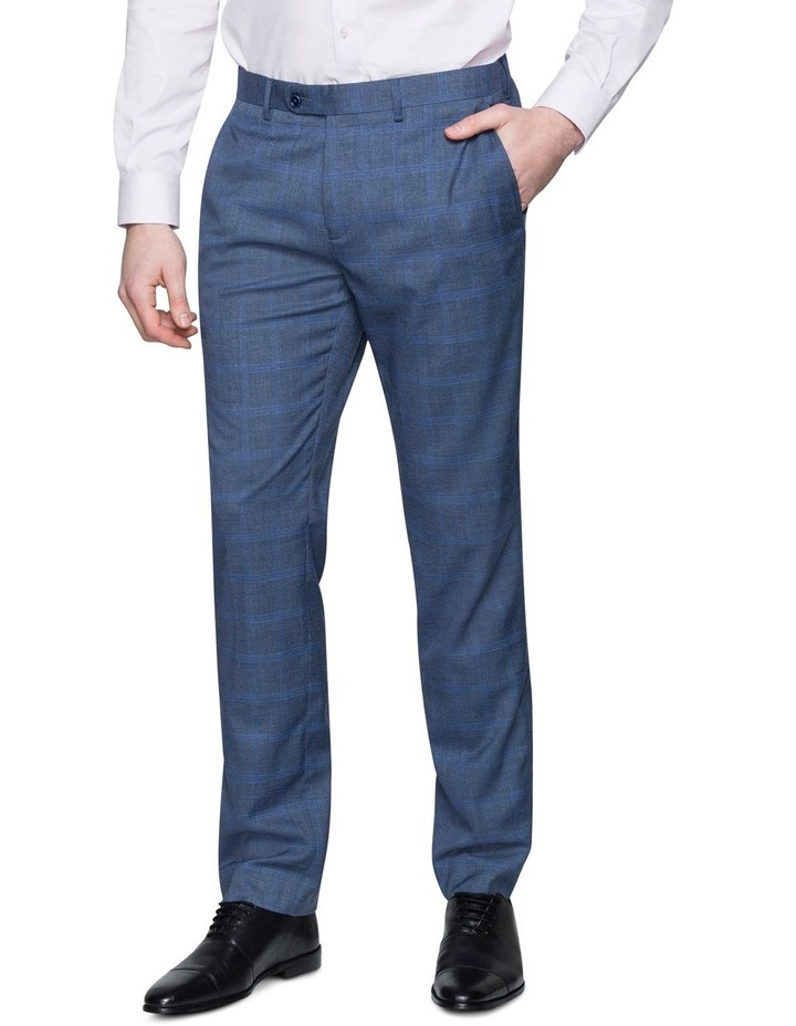 Denim Windowpane Check Suit Trouser image 1