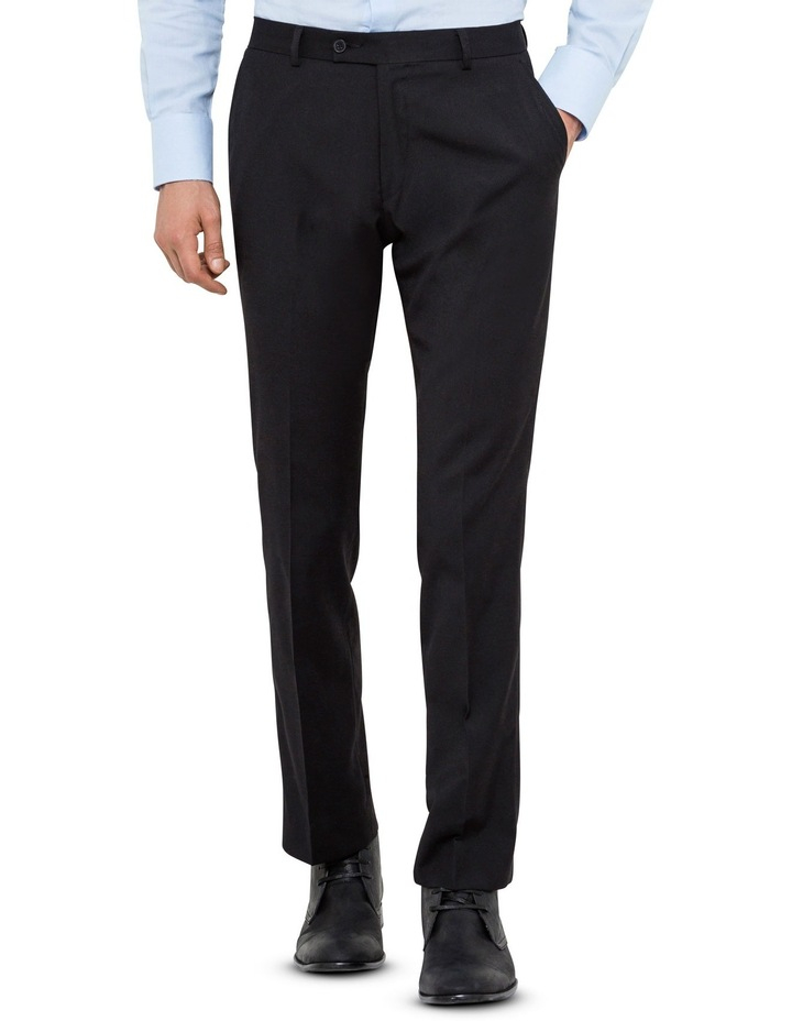 Black Wool Blend Flat Front Suit Trouser with Evercool Coldblack Technology image 1