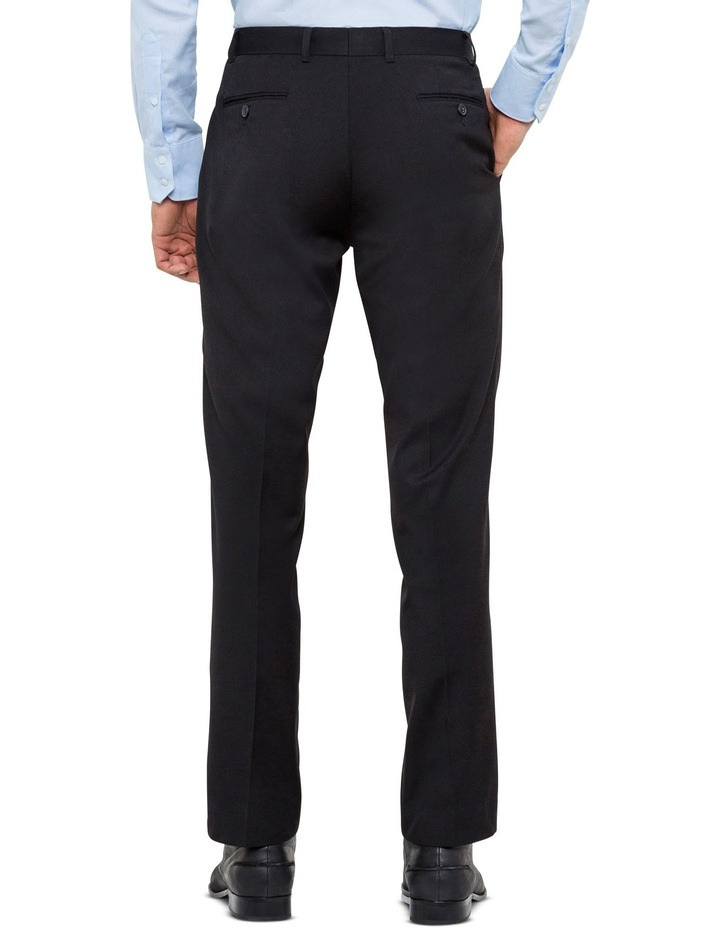 Black Wool Blend Flat Front Suit Trouser with Evercool Coldblack Technology image 2