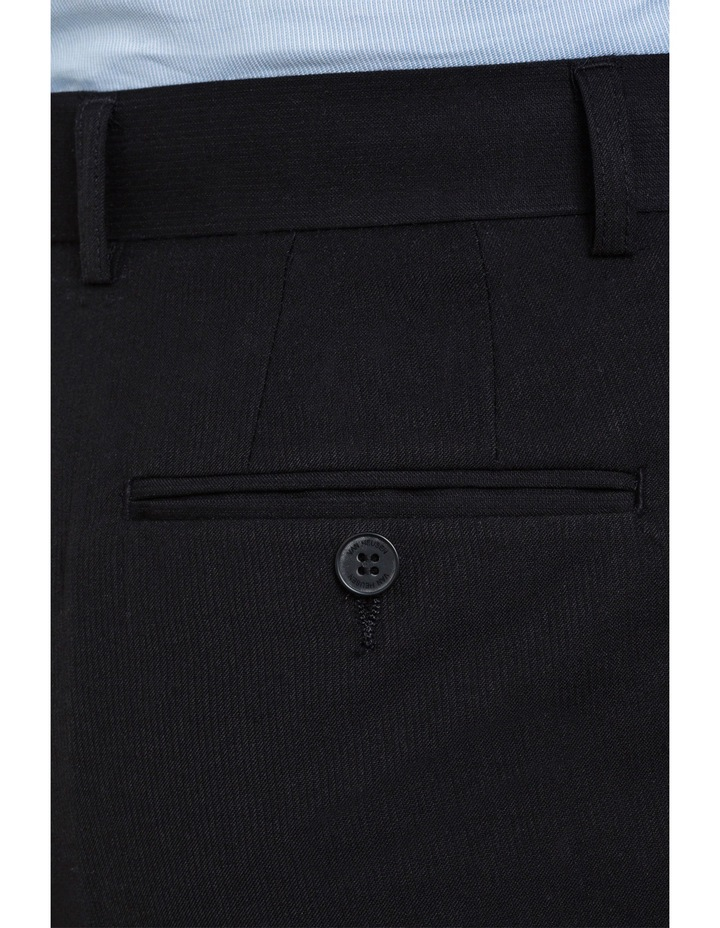 Black Wool Blend Flat Front Suit Trouser with Evercool Coldblack Technology image 3