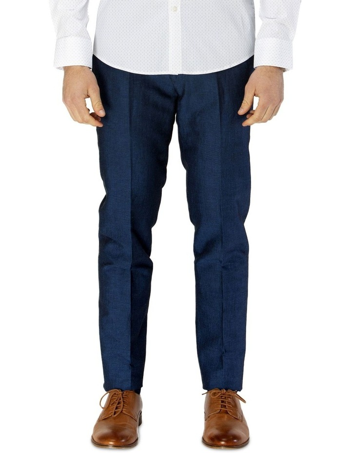 Linen Blend Textured Plain Trouser image 1