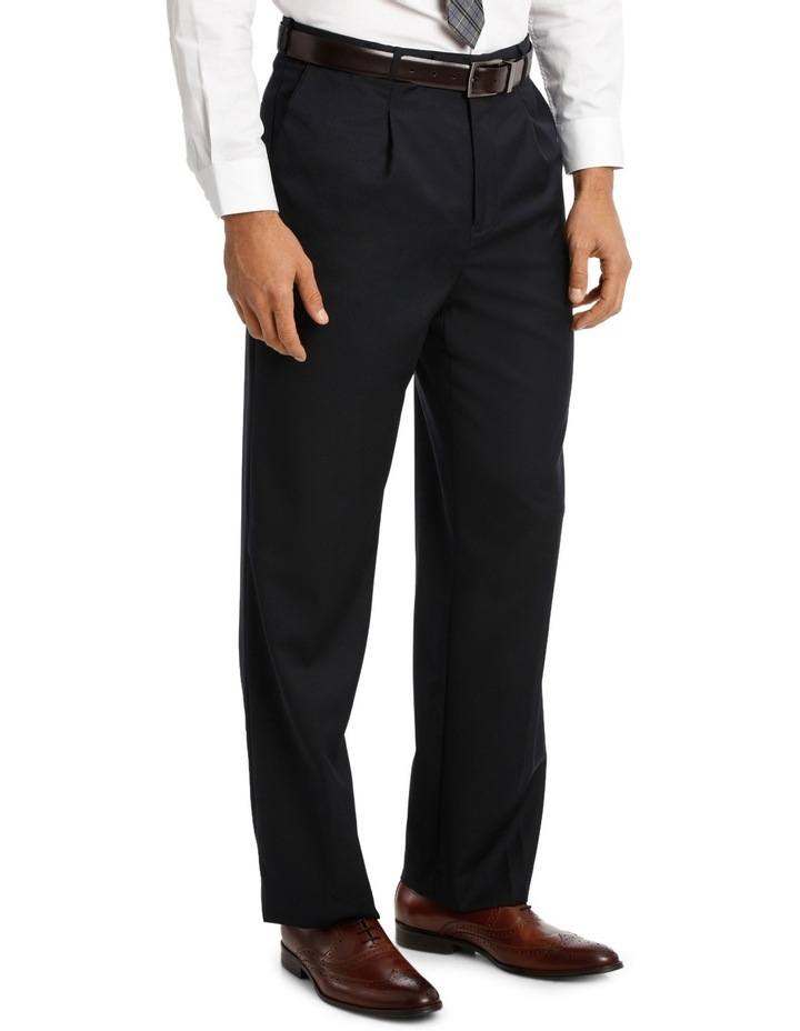 Relaxed Fit Easy Care Single Pleat Navy Business Trouser image 2