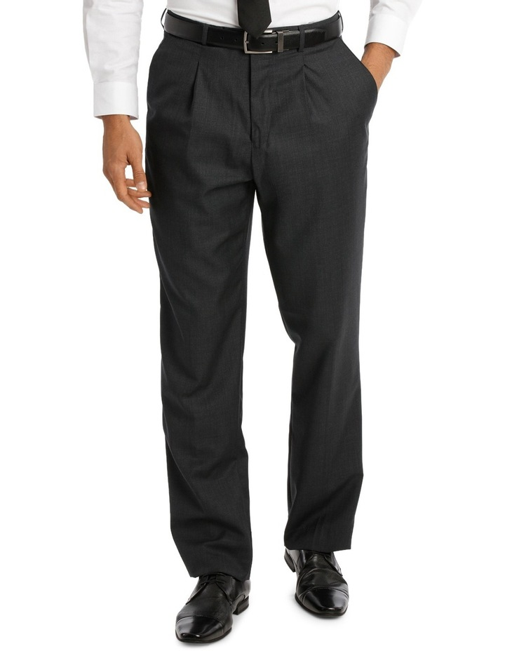 Relaxed Fit Easy Care Single Pleat Charcoal Business Trouser image 1