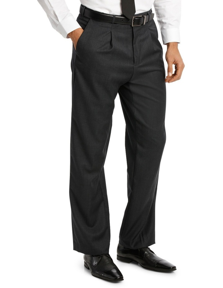 Relaxed Fit Easy Care Single Pleat Charcoal Business Trouser image 2
