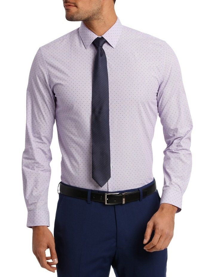 Slim Fit Lilac Fine Stripe With Spot image 1