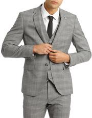 Slim Fit Check Suit Jacket