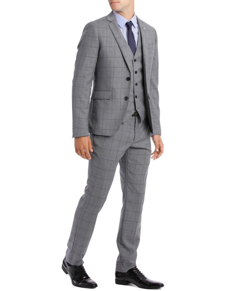 BLAQ SLIM BSW19008T GREY CHECK SUIT TROUSER image 2