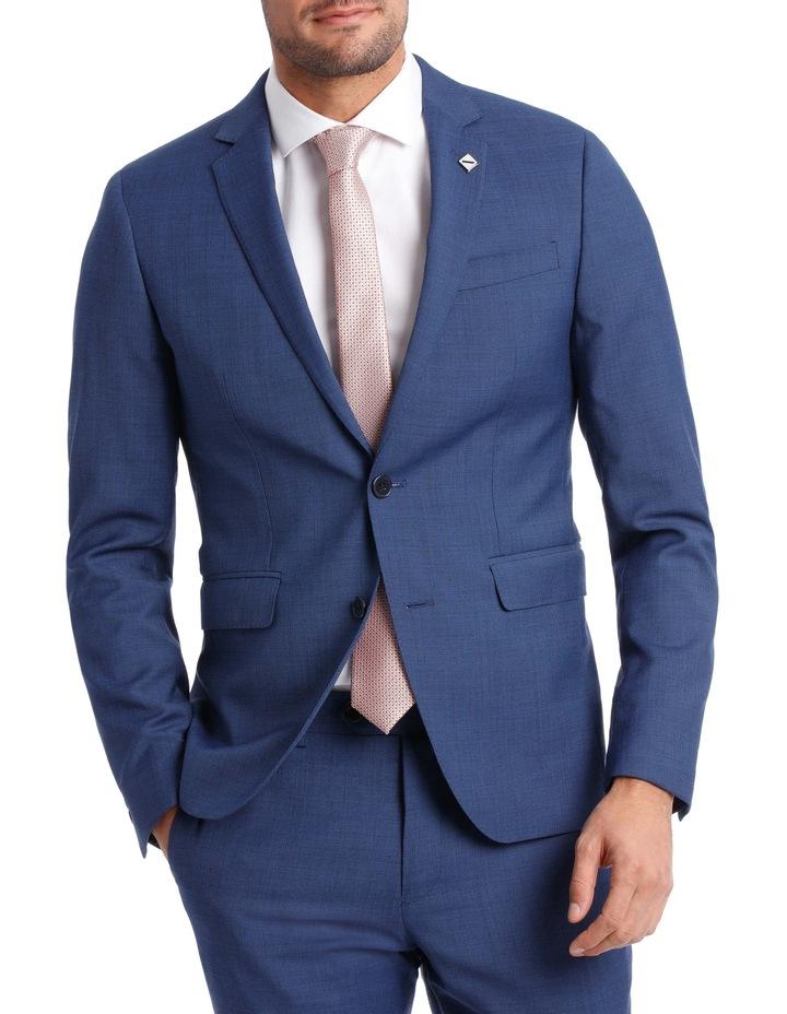 Slim Bright Blue Textured Suit Jacket image 1
