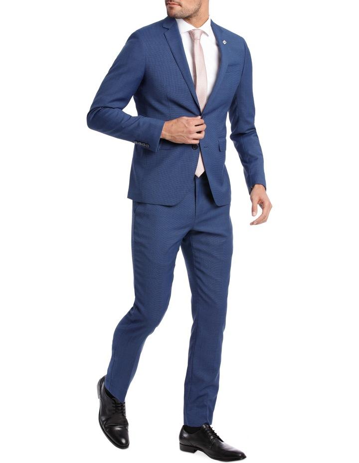 Slim Bright Blue Textured Suit Jacket image 2
