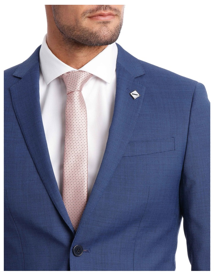 Slim Bright Blue Textured Suit Jacket image 4