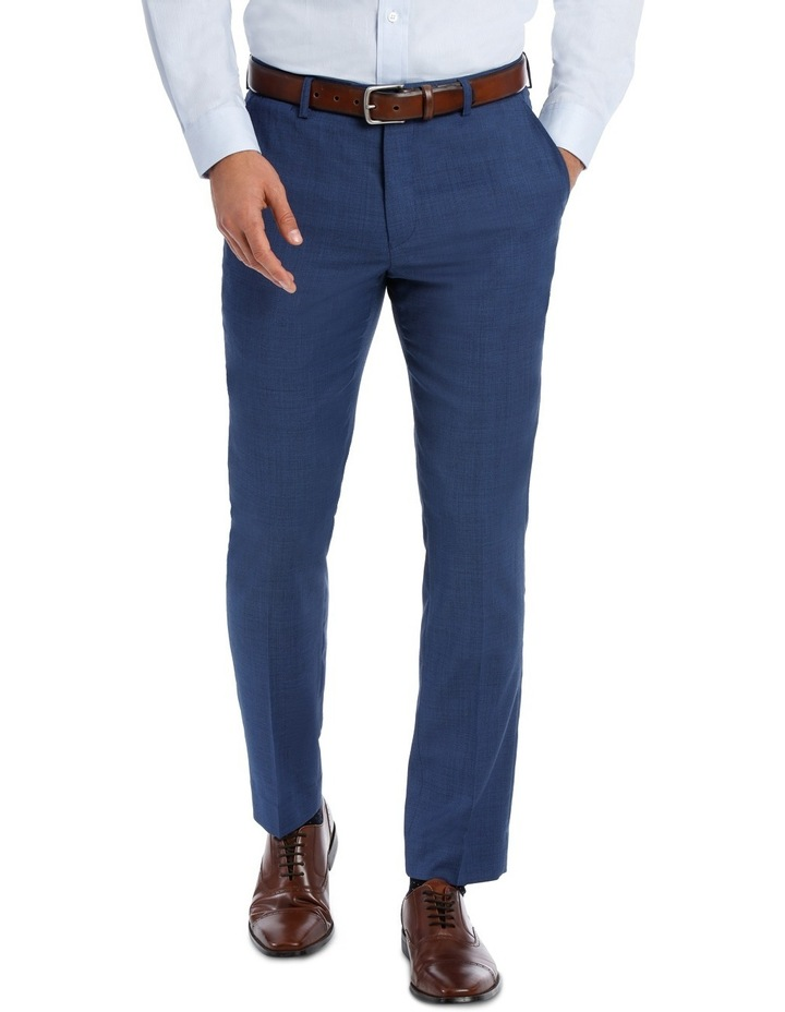 Slim Bright Blue Textured Suit Trouser image 1