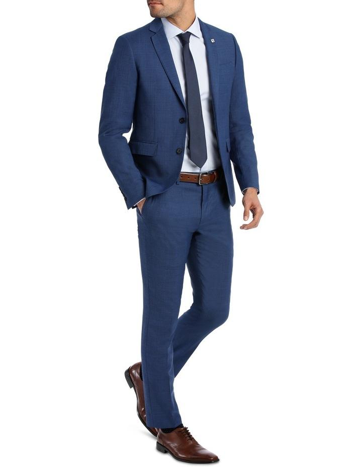 Slim Bright Blue Textured Suit Trouser image 2