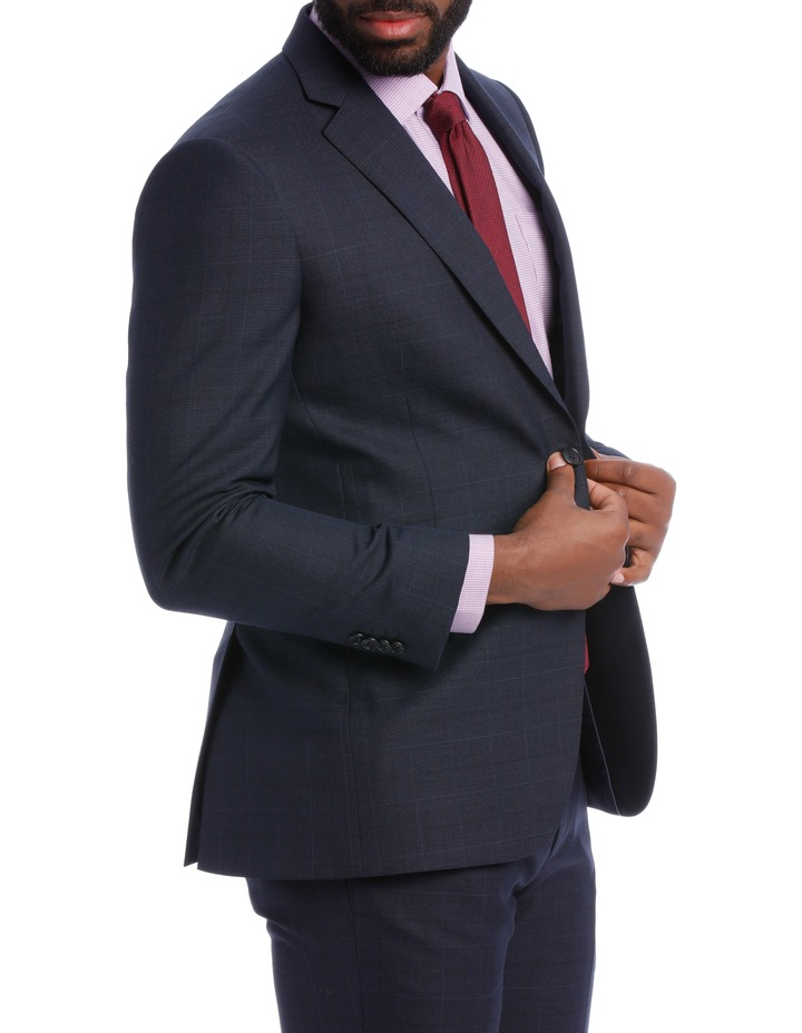 Navy Check Wool Blend Suit Jacket image 3
