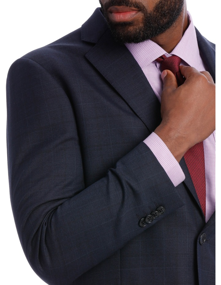 Navy Check Wool Blend Suit Jacket image 7