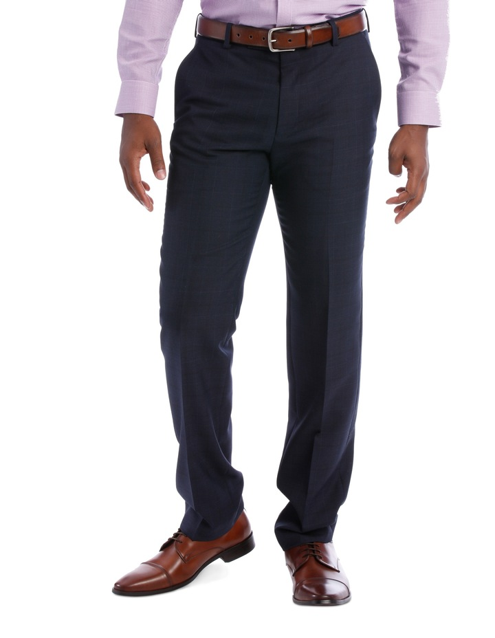 Wool Blend Suit Trouser Navy Check image 1