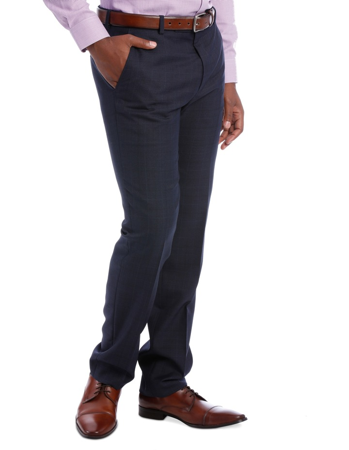 Wool Blend Suit Trouser Navy Check image 3