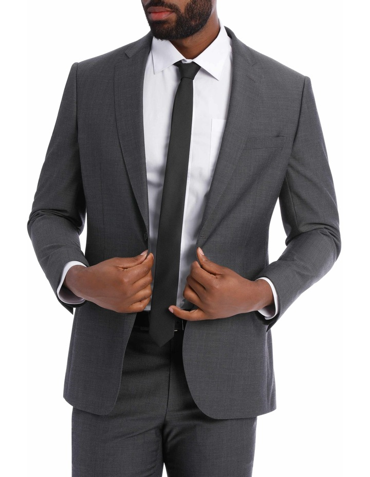 Textured Wool Blend Grey Suit Jacket image 1