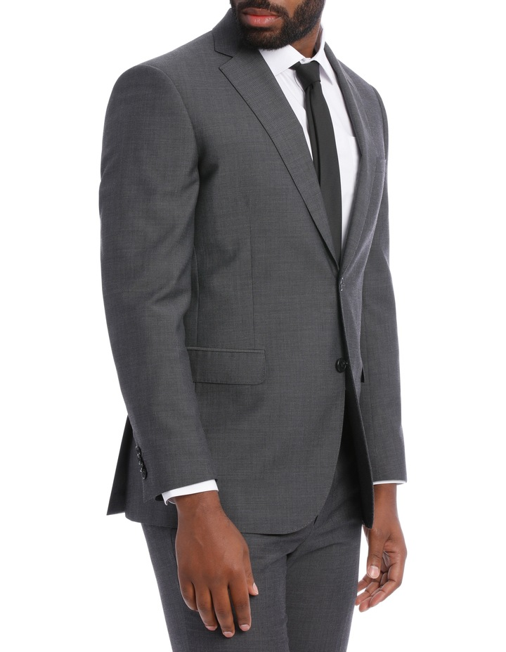 Textured Wool Blend Grey Suit Jacket image 3