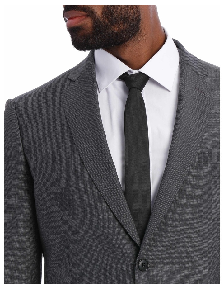 Textured Wool Blend Grey Suit Jacket image 7