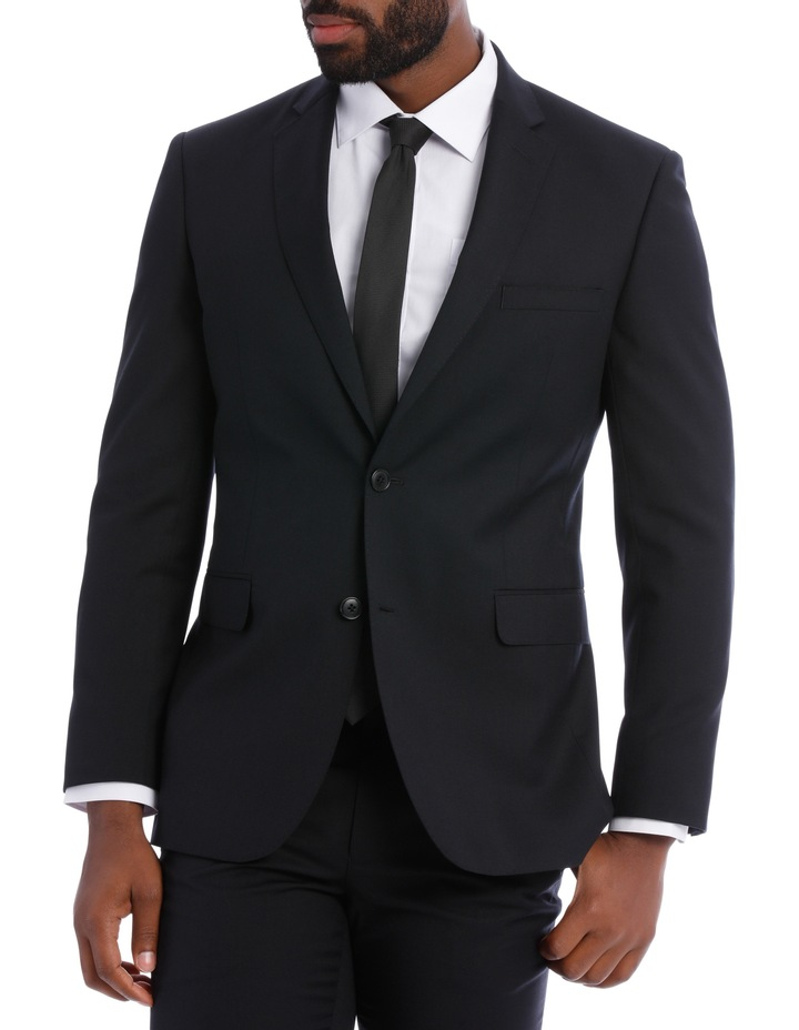 Black Pindot Wool Blend Suit Jacket image 1